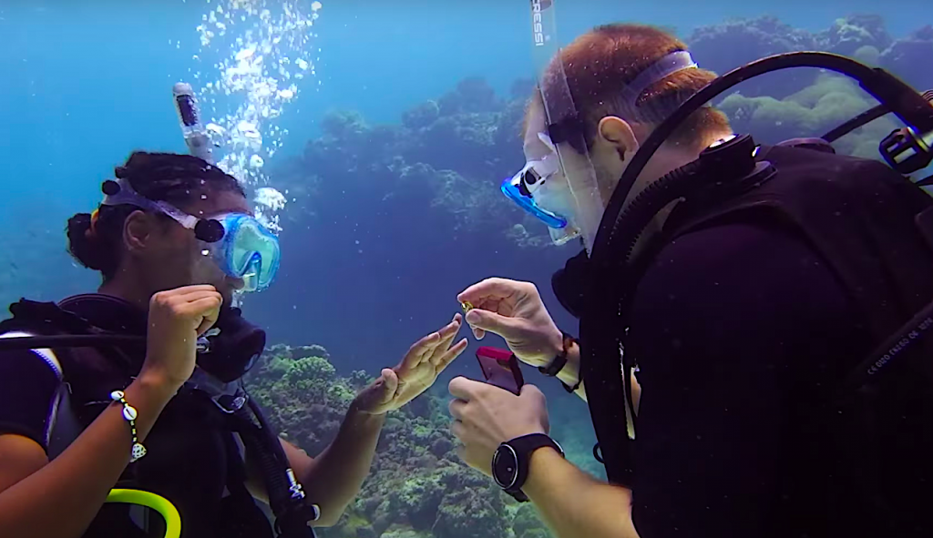 What does an underwater wedding involve?